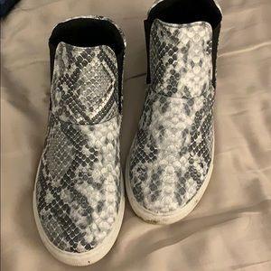 Snake skin high top sneakers